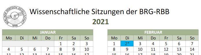 Termine Wissenschaftliche Sitzungen 2021